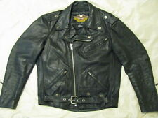 Harley Davidson Motorcycle Leather Jacket Shovelhead Biker USA Made M Long Tall