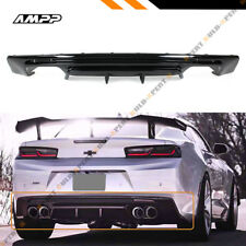 For 16-18 Chevy Camaro LT SS RS Painted Gloss Blk Shark Fin Rear Bumper Diffuser