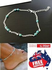 Turquoise Beads Silver Chain Bracelet Foot Beach Anklet Ankle Feet Jewelry 1pc