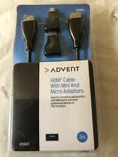 BRAND NEW 3 METRE HDMI CABLE With MINI And MICRO ADAPTERS 3