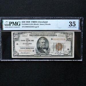 1929  $50 FRBN Cleveland, Fr # 1880-D (DA Block) Jones/Woods, PMG 35 Choice VF