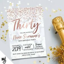 PERSONALISED 30TH BIRTHDAY PARTY INVITATIONS | MARBLE ROSE GOLD GLITTER STYLE