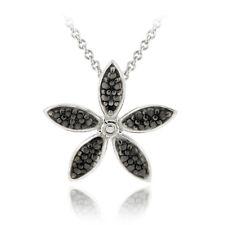"925 Silver Black Diamond Accent Flower Necklace, 18"""