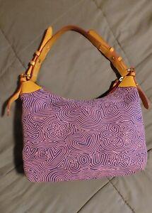DOONEY & BOURKE Purple/Pink 1975 Graffiti Logo Shoulder Hobo Shoulder Bag PURSE