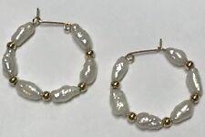 BEAUTIFUL 14k Yellow Gold Seed Pearl Gold Bead Hoop Earrings
