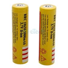 New 2pcs BRC 18650 3.7V Li-ion Rechargeable Battery Yellow-5000K Durable