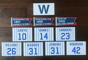 CHICAGO CUBS WRIGLEY FIELD RETIRED NUMBER WORLD SERIES CHAMP PENNANT BANNER FLAG