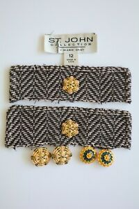 St. John Knits Marie Gray - Set of enamel buttons, Gold basketweave