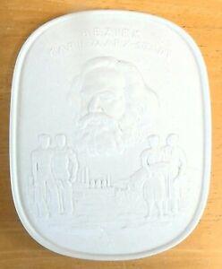 Vintage Meissen White Bisque Porcelain Bezirk Karl Marx Stadt Plaque