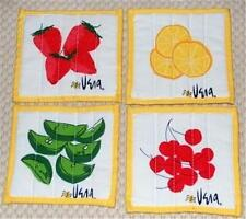 VERA Fruit STRAWBERRY LEMON LIME CHERRIES Square Fabric Coasters Set Lot of 7