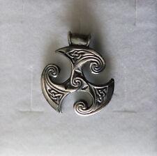 TRISKELE-Triscele grande Ciondolo in Argento BRUNITO 925  sterling silver