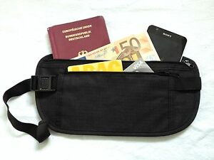 MONEYBELT Geldgürtel Hüfttasche Geheimtasche Security bag schwarz