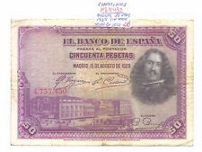 BILLETE DE 50 PESETAS  MADRID  AÑO 1928 (  sello en seco sin serie ) ( MB11432 )