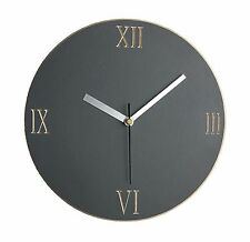 Wall clock - grey handmade painted wood carved with roman numerals