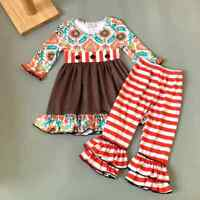 NEW Boutique Girls Floral Orange Ruffle Tunic Dress & Leggings Outfit Set