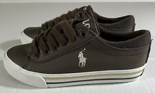 Ralph Lauren Polo Kids Boys Harrison Brown White Leather Shoes Sneakers Sz 12C