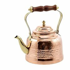 Solid Copper Hammered Tea Kettle Brass Spout And Wooden Handle Kitchen Cookware