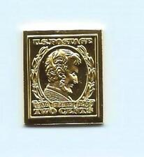 1909 United States Abraham Lincoln 2 Cent Stamp 24 Karat Gold Over Solid Silver