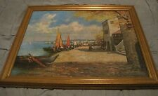 """Oil on Board Painting Coastal Fishing Village Reproduction 25x31"""""""