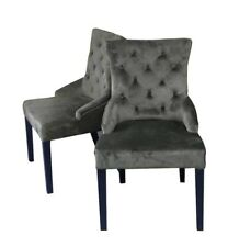 **SECONDS** Pair of Velvet Button Effect Dining Chairs Grey Seating Seat Accent