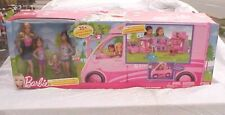BARBIE SISTER DELUXE CAMPER WITH DOLLS FULLY FURNISHED FOR 4 W 25+ PIECES NEW