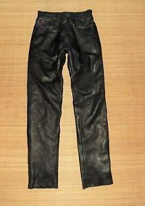 pantalon SOUBIRAC coupe droite en cuir noir doublure coton amovible taille 38