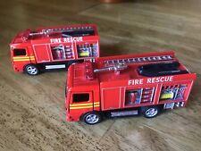 (2)KiNSFUN - Fire Trucks - Die Cast & Plastic  - Pull Back & Go Action