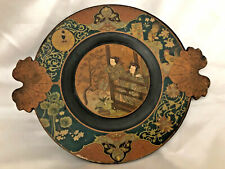 Antique Japanese Wood Lacquer Hand Painted Ornate Plate Meiji Period
