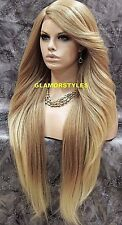 "38"" Layered Golden Bleach Blonde Mix Full Lace Front Wig Heat Ok Hair Piece NWT"