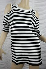 SEED HERITAGE black white striped shoulderless long sleeve top size S EUC