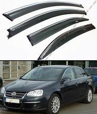 FOR 06-10 VW MK5 JETTA SEDAN SMOKE WINDOW VISOR DEFELCTOR W/ CHROME TRIM & CLIPS