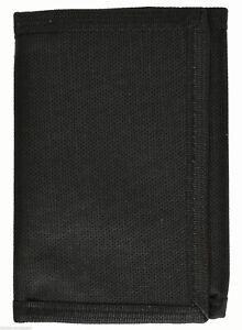Kids Mens Solid Color Tri-Fold Nylon Wallet - Black