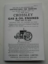 Crossley Gas & Oil Engine Instrution & Spare Parts List for 1060 to 1075