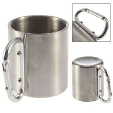 220ml Stainless Steel Outdoor Camping Cup Carabiner Hook Double Wall Portable
