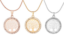 Tree of Life Crystal Round Small Pendant Necklace Rose Gold, Gold Silver Colour
