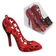 Snow White Decoración Árbol Navidad - pack 2 12cm zapatos brillantes -rojo