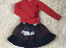 Jottum Wrap Cardigan Skirt Pleated Red Blue 6 8  Holiday Columbus Veterans Xmas