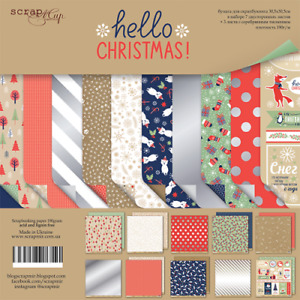 """12"""" x 12"""" scrapbooking paperpad cardstock Hello Christmas 10 sheets 190gsm"""