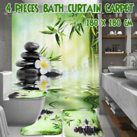 180x180cm Waterproof Bamboo Bathroom Shower Curtain Non-Slip Toilet Cover Mat US