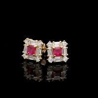 1CT Princess Ruby Baguette Round Diamond Earrings Square Stud 14K Yellow Gold