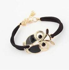 NUOVO Carino Gufo bracciale in pelle scamosciata nero gioielli regalo goth Boho Funky Ragazze Goody BAG
