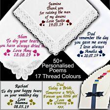 Wedding Handkerchief Embroidered Men's Ladies Personalised White Hanky Gift Mens