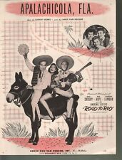Apalachicola Fla 1947 Bing Crosby Bob Hope The Road to Rio Sheet Music