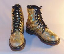 Doctor Martins Womens Boots Size 4 Airwair Gold Foil Made in England Steam Punk