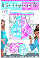 Gender Reveal Poster Curtain boy girl baby shower arrival party supply decor