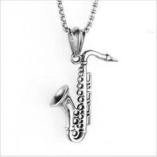 Unisex Musical Titanium Steel Sachs Instruments Trumpet Necklace Pendant Jewelry