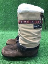 Steger Mukluks Traditional Tall Brown Womens Canvas And Suede Leather Moose Sz 5