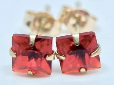 REAL 9K SOLID YELLOW GOLD PRINCESS CUT RUBY EARRINGS!