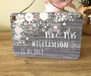 Personalised Wedding Gift Wooden Plaque Shabby Chic Keepsake Sign Gift