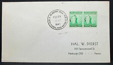 US Cover Dearborn Naval Shore Station Patriotic Stamp Pair Paar USA Brief H-7607